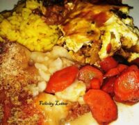202102 My take on bobotie, yellow rice, sweet carrots, cauliflower cheese, with crumb topping Felicity Lotter 2 F
