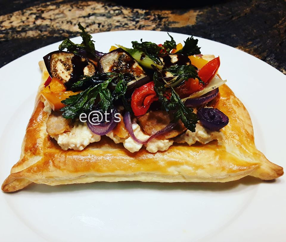 ROASTED VEGGIES AND PORK BANGERS ON FLAKY PASTRY SQUARES